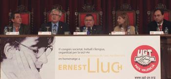 El Ministro de Industria abre el II Congrés, societat, treball i llengua en homenaje a Ernest Lluch