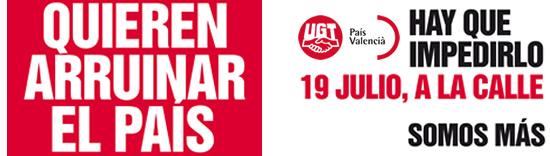 UGT y CCOO proponen una jornada de manifestaciones en todo el país el 19 de julio